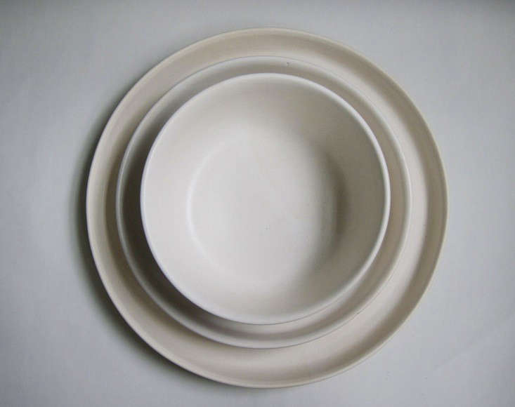 Portland, OR-based artistKati Von Lehmanmakes ceramic tableware from her home studio. Shown above is her three-piece dinner set; contact her directly to order.