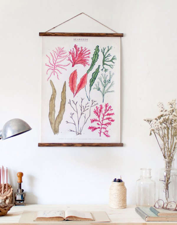 Elegant A workspace vignette featuring a reproduction of a vintage botanical chart To purchase see