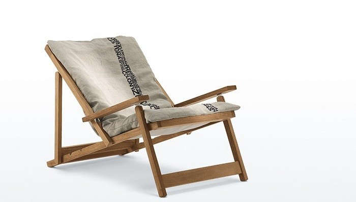Above Fashion Designer James S Teak Malbu Sling Chair Has A Linen Cover Contact Directly For Pricing