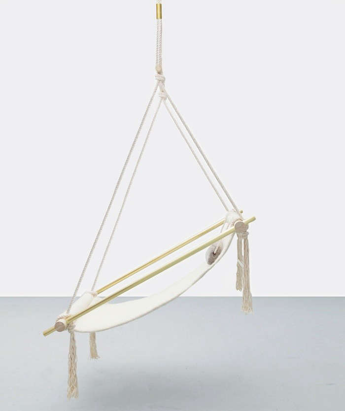 Above: From Ladies U0026 Gentleman Studio, The Ovis Hanging Chair Pairs A  Felted Navajo Wool Sling (also Available In Black Leather) With A Wood And  Metal Frame ...