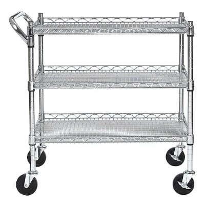 Attractive ... Utility Cart Made For Professional Kitchen Use Can Hold Up To 800  Pounds On Its Three Adjustable Shelves. All Four Casters Swivel For Easy  Movement, ...
