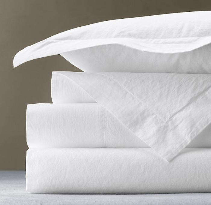 Superb  italian vintage washed percale sheets