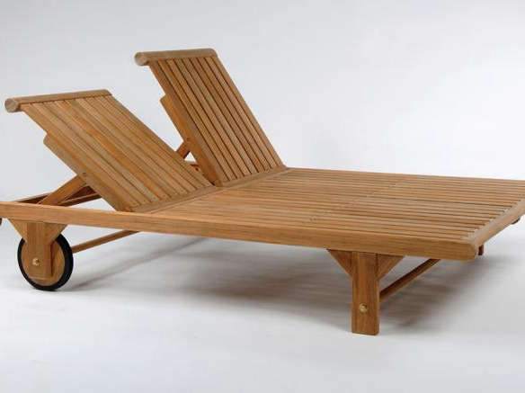 Atlantic Teak Double Patio Chaise Lounge