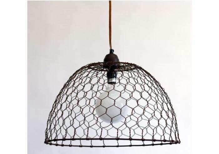 Chicken Wire Basket Pendant Lamp