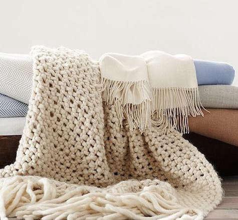 Ivory Chunky Wool Blanket