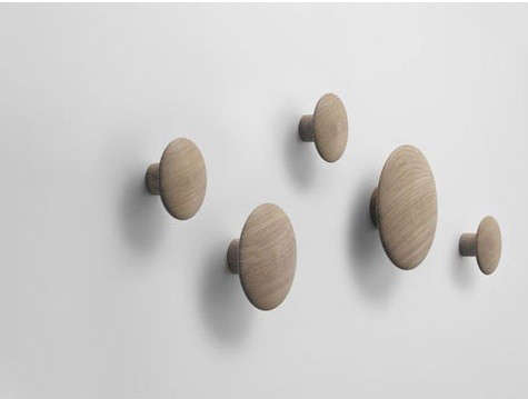 Round Coat Hooks high/low: dot wall hooks - remodelista