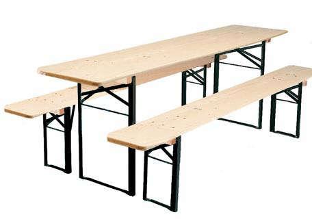 Biergarten Folding Wood Table And Bench Set