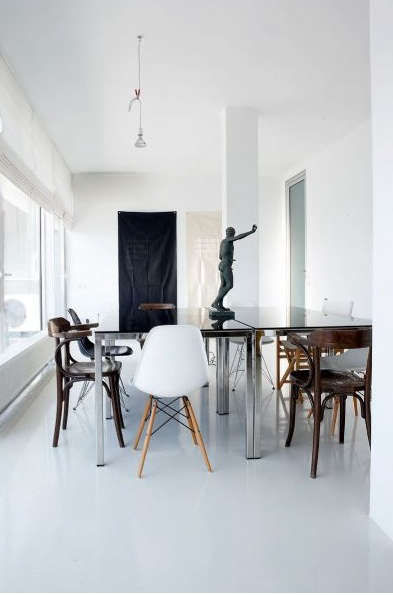 Superb Above Eames chairs mixed with bentwood cafe chairs