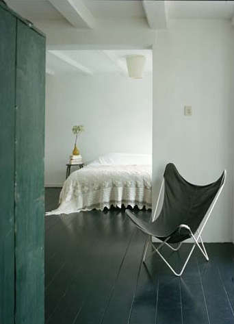 Painted Floor paints & palette: painted black floor - remodelista