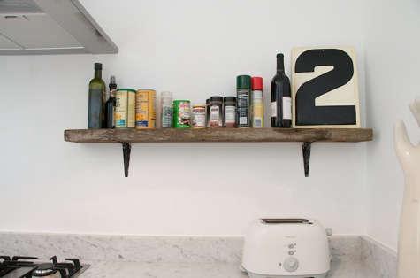 Vintage Salvage Oak Kitchen Shelf