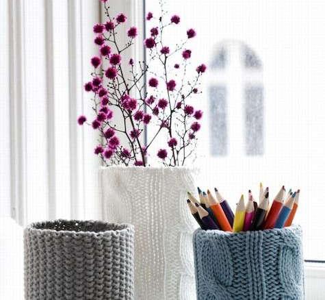 ferm living short knitted vase. Black Bedroom Furniture Sets. Home Design Ideas