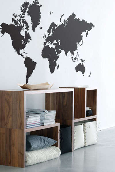 Accessories maps as children 39 s room decor remodelista for Environmental graphics giant world map wall mural