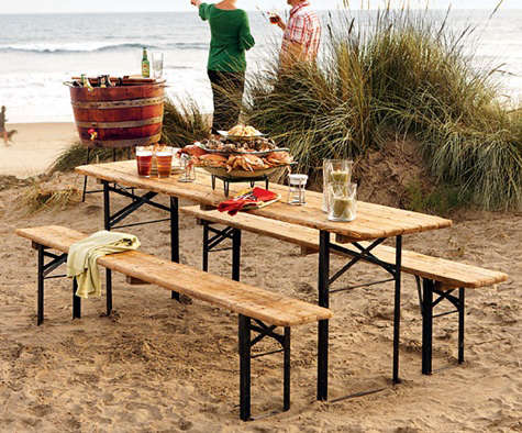 Outdoors European Biergarten Table And Bench Set