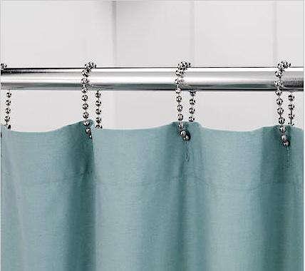 teal shower curtain hooks. Shower Curtain Rings Bath  Ball Chain Remodelista