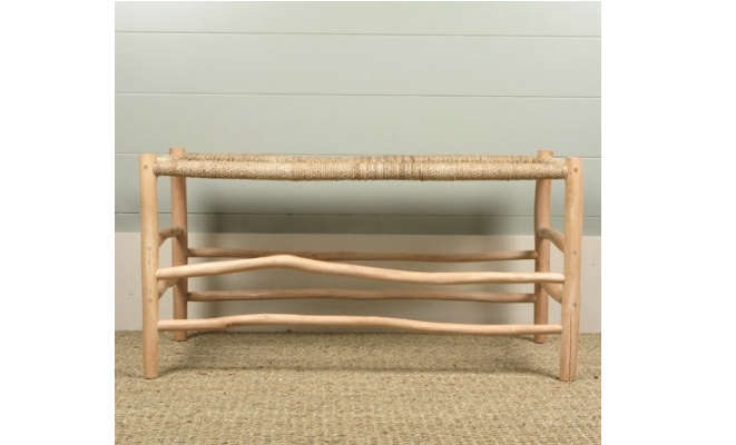 - Woven Rope Luggage Bench