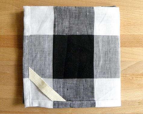 Dish Towel Linen Black Plaid
