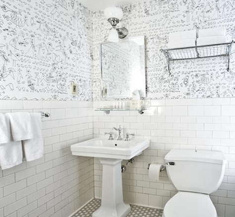 Bathroom Tiles Wallpaper steal this look: soho grand bathroom in new york - remodelista