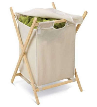 Classic Folding Wood Frame Laundry Hamper