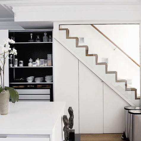 above a kitchen in london via homes and gardens magazine - Under Stairs Kitchen Storage
