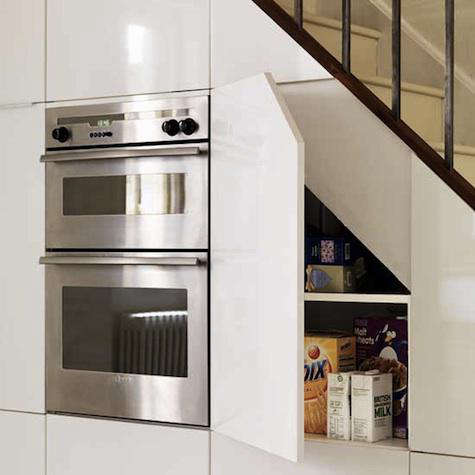 Captivating Above: A Kitchen In A Shoreditch Loft, Via Beach Studios. Above: Appliance  And Food Storage Under The Stairs ...