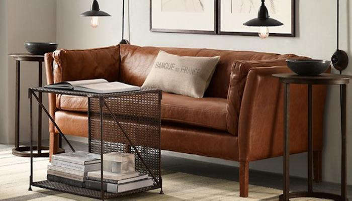 Above: Restoration Hardwareu0027s Belgian Shelter Arm Leather Sofa Is Available  In Nine Different Leathers And Two Different Depths Of 37 Inches And 41  Inches.