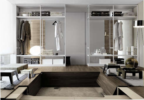 Above Italian Company Poliform Offers Custom Walk In Closet Systems A Range Of Styles Including The Minimalist Ego Designed By Giuseppe