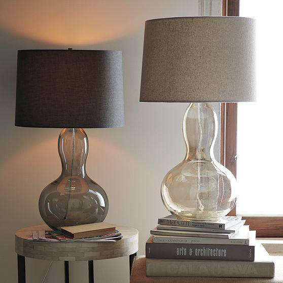 Above: The Gourd Table Lamp, Available With Either A Charcoal Tinted Glass  Or Luster Glass Base, Is $179 At West Elm.