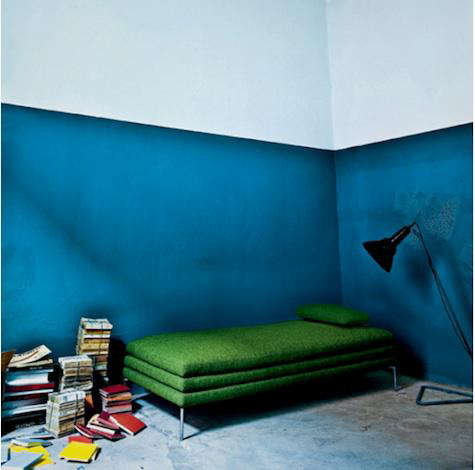 Above: We like the combination of deep blue and green in this high-ceilinged room; via Solid Frog. & Paints \u0026 Palettes: Half-Painted Walls in Bold Colors - Remodelista