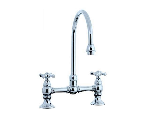 Bon Above: Cifial Highlands Hi Rise Bridge Kitchen Faucet With Cross Handles,  Shown In Polished Chrome; $327.60 At EFaucets.
