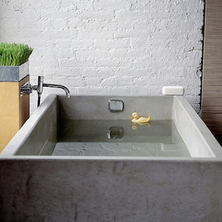 Exceptional Above: Concrete Bath From Belgian Firm ISO (L). A Concrete Bath In A  Summerhouse In Portugal (R), Via Marie Claire Maison (and Purple Area).