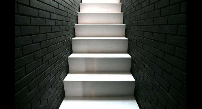 Above: In The Stairwell Of Their Dark And Dramatic Shadow House,  London Based Liddicoat U0026 Goldhill Whitewashed The Wood Steps And Painted  Side Brick Walls ...