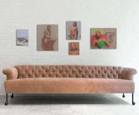 Above An Extra Long Tufted Sofa In Dusty Pink Velvet