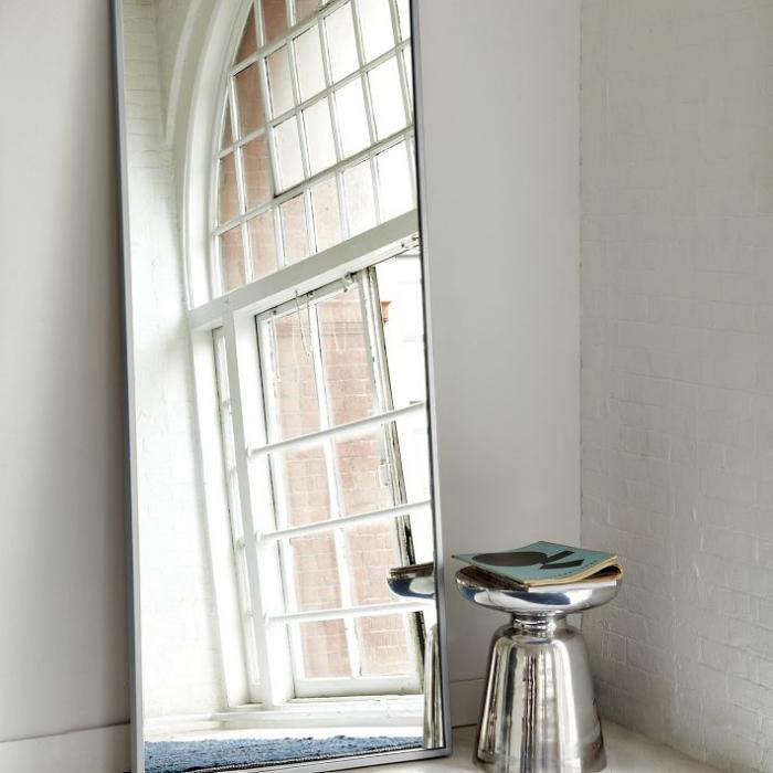 Above The Metal Floor Mirror With A Brushed Nickel Frame Leans Against Wall 299 From West Elm