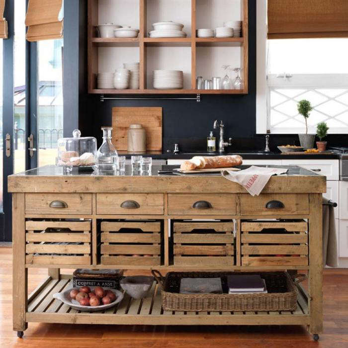 Above: The Stone Top Kitchen Island Is Designed In The Style Of An Antique  French Utility Table Made From Reclaimed Pine Base And A Natural Stone Top  For ...