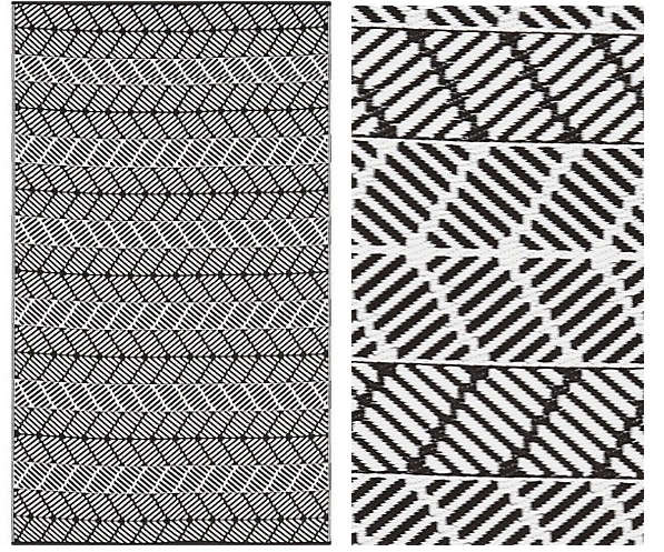 Above: A Black And White Chevron Design Woven Of Lightweight Plastic; A 5   By 8 Foot Seattle Reversible Indoor Outdoor Rug Is $89.95 At CB2.