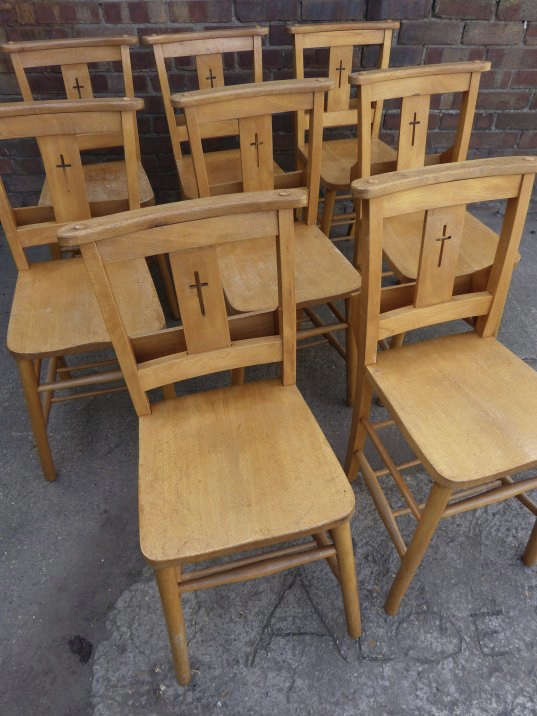 Above: Vintage chairs can be found at antiques shops like Church Antiques  in London, which offers the beech Kempston Cross Back Chapel Chair for £33  each. - Design Sleuth: Church Chairs In The Dining Room - Remodelista