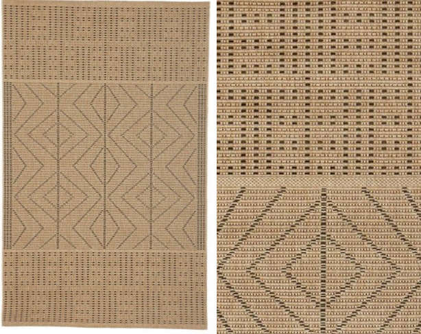 Above Woven Of Synthetic Yarn To Mimic Gr Cloth A Quil Diamond Indoor Outdoor Rug Based On The Pattern An Early 20th Century African Is