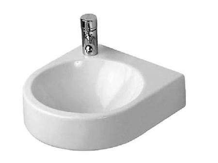 Above: A Space Saving Corner Sink, The White Porcelain Scarabeo Square Wall  Mounted Corner Sink By Nameeks Measures 18.5 Inches Wide And Deep; ...