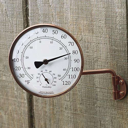Above The Copper Outdoor Combination Thermometer Hygrometer Is Side Mounted On Garden Wall 59 95