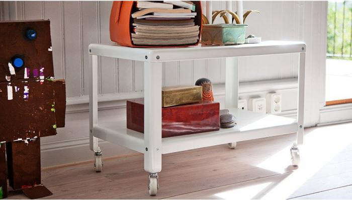 Above The Coffee Table On Casters In White Is It Also Available Dark Turquoise