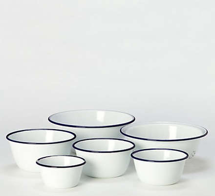 Above: The Enamelware Prep Set Includes Five Mixing Bowls And One Colander;  $148.