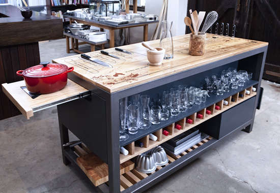 Kitchen Work Table With Storage The ultimate chefs work table from a culinary star remodelista as well as storage drawers and shelves for additional kitchen equipment it can also be customized to include a power supply and a sink workwithnaturefo