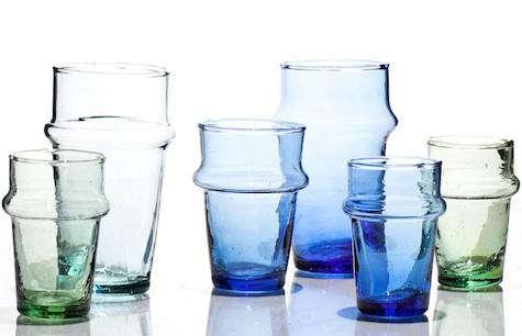 tabletop handblown moroccan tea glasses