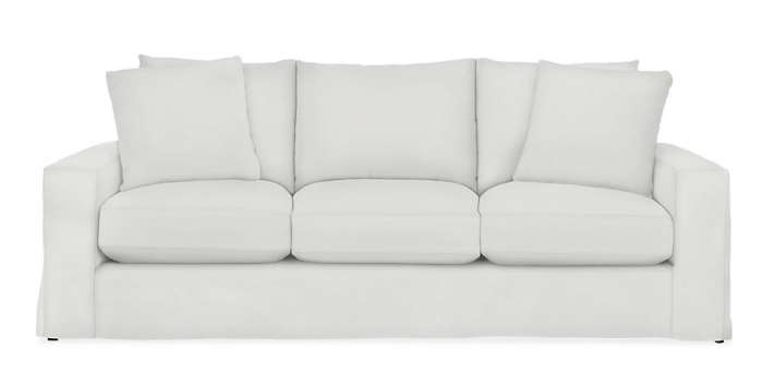 Above: Restoration Hardware's Belgian Classic Roll Arm Sofa is $3,625 for  the 7-foot version with a linen slipcover.