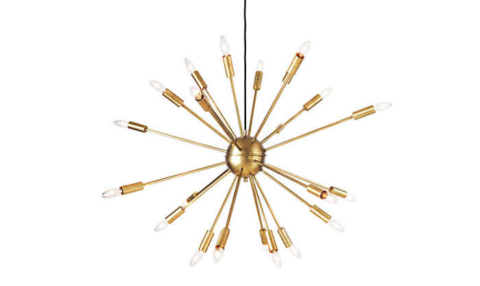 10 easy pieces modern chandeliers remodelista with 24 antennae arms the chandelier is available in brass shown and bronze 1325 from design within reach mozeypictures Gallery