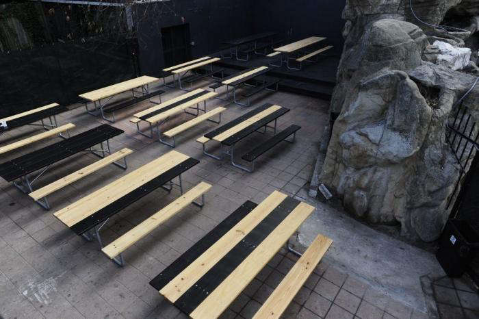 Above: A Modernist Take On The Biergarten Table, Picnic Tables Are Stained  Black In Various Patterns. Photograph Via Austin Eater.