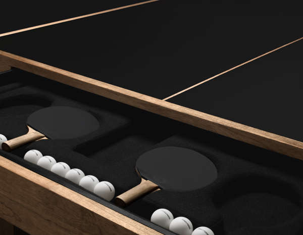 Above: An Upholstered And Formed Drawer Holds Custom Paddles And James  Perse Branded Balls.