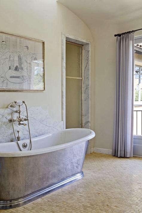 Luxurious bathroom with freestanding tub, marble, and elegant interior design by Kazuko Hoshino and architect William Hefner. #luxury #bathroomdesign #FrenchCountry #Provence #modern #FrenchCountry