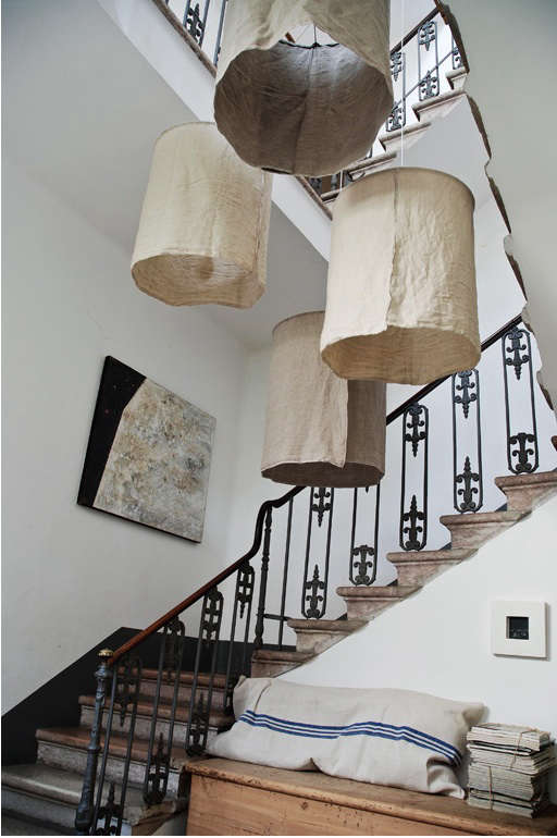 Diy rustic linen lampshades from italy remodelista interested in something similar as a diy project see our sources and instructions below for making a 20 inch sized lamp aloadofball