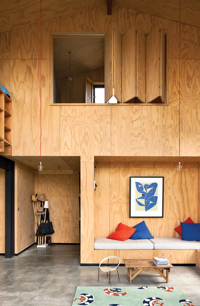 Plywood sheets line the entire interior of architect Davor Popadich's Auckland home, including an ingenious accordion door. Photograph by Simon Devitt.